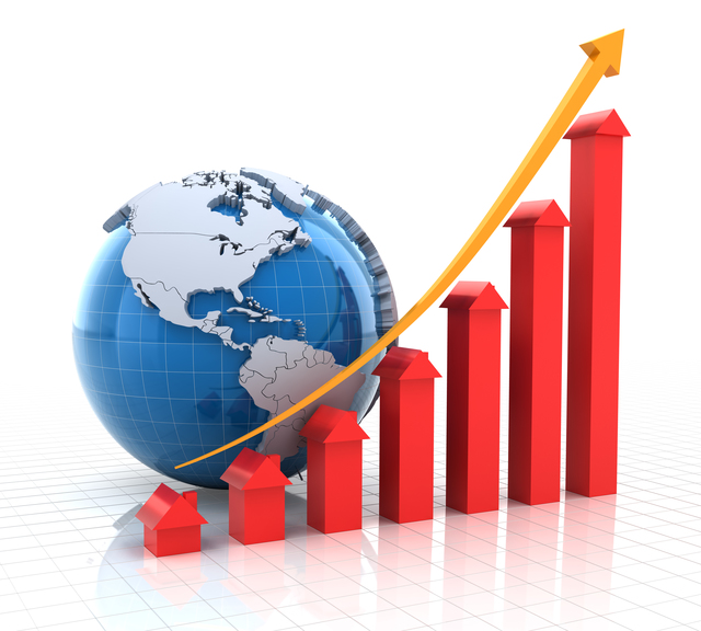 Real estate growth chart with globe, 3d render, white background
