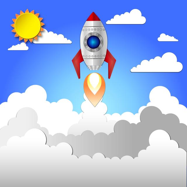 Flat rocket icon startup concept. Project development.