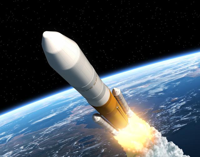 Cargo Launch Rocket Launching. Realistic 3D Scene.